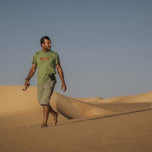 Barefoot on a dune near Chinguetti, Mauritania