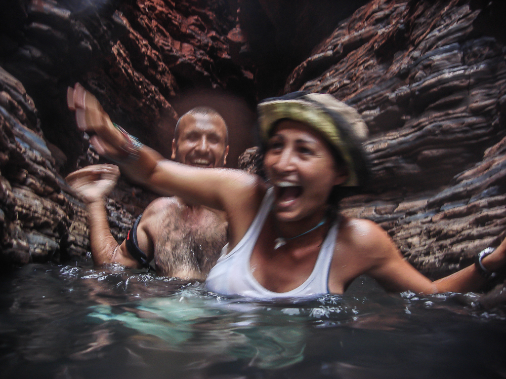 Splashing in a gorge, Karijini park, Australia