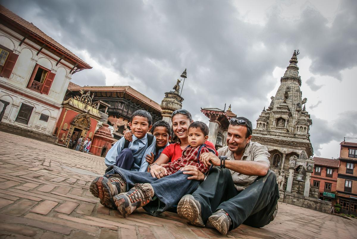 With Nepalese children at Kathmandu valley