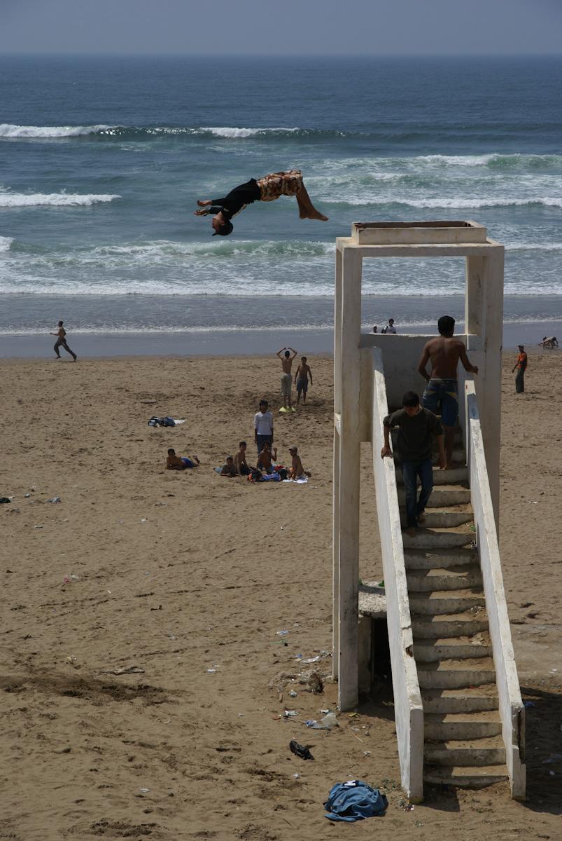Freeride acrobats in Medhya, Morocco