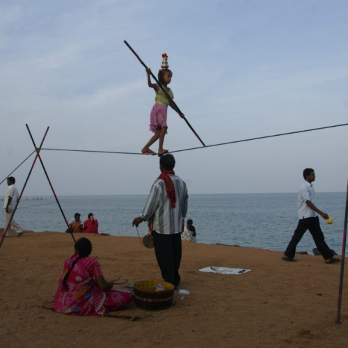 Child acrobat in Pondicherry, India