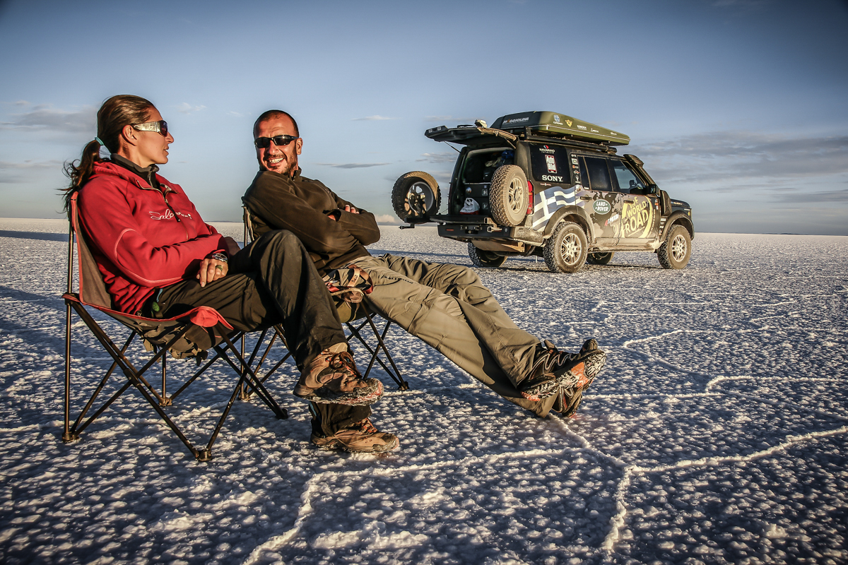 Enjoying salar de Uyuni in Bolivia